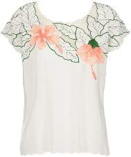 Sugarhill Boutique Tropical Flower Embroidered Top - 8 - White/Pink/Green