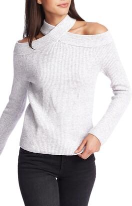 1 STATE Cross Neck Cold Shoulder Cotton Blend Sweater