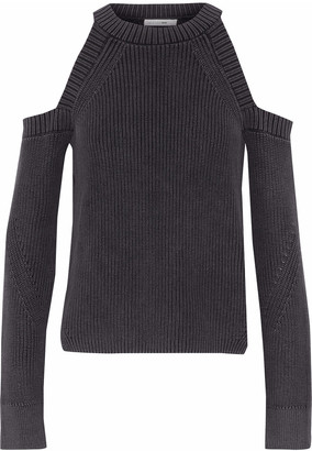 Rag & Bone Cold-shoulder Ribbed-knit Cotton Sweater