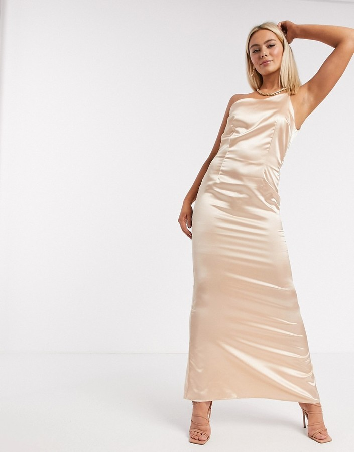 Thumbnail for your product : TFNC Bridesmaid one shoulder satin maxi dress in champagne