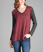 Aster Red & Gray V-Neck Hi-Low Tunic - Plus - Plus Too