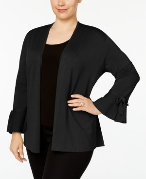 Alfani Plus Size Tie-Sleeve Cardigan, Created for Macy's