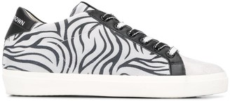 Leather Crown zebra print low-top sneakers
