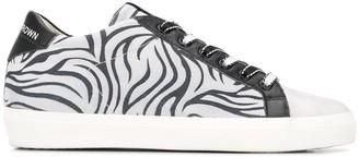 Leather Crown Zebra Print Low-Top Sneakers