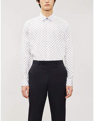 Ted Baker Fille geometric-patterned slim-fit cotton shirt