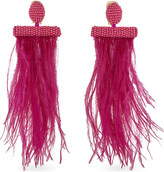Oscar de la Renta Feather and bead tassel earrings