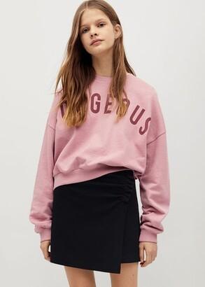 MANGO Ruched detail skirt