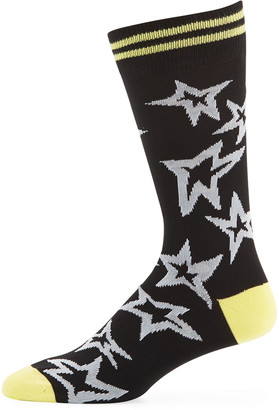 Paul Smith Men's Neon Stars Cotton-Blend Socks