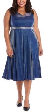 R & M Richards Plus Size Metallic Fit & Flare Dress
