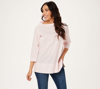 Martha Stewart Stretch Poplin Funnel Neck 3/4-Sleeve Blouse
