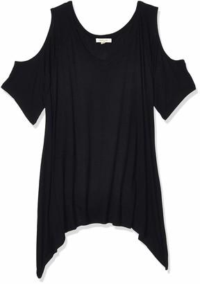 Paper + Tee Women's Plus-Size V-Neck Cold Shoulder Uneven Hem Top