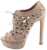 Alaia Studded Lace-Up Booties
