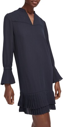 Scotch & Soda Print Ruffle Hem Long Sleeve Shift Dress