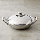 Ruffoni Opus Prima Hammered Stainless-Steel Wok with Tomato Finial