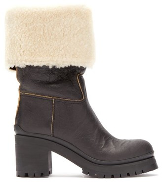 Miu Miu Leather And Shearling Boots - Womens - Black Cream