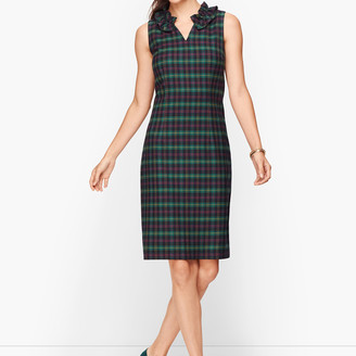 Talbots Split Neck Tartan Shift Dress