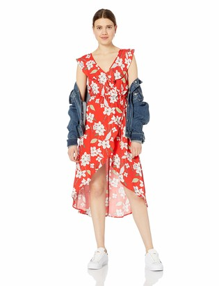 Jack by BB Dakota Junior's gild The Lily Printed Rayon Crepe wrap Maxi Dress