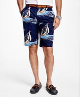 Brooks Brothers Sailboat Print Bermuda Shorts