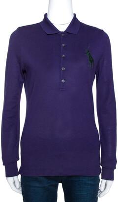 Ralph Lauren Purple Cotton Pique Full Sleeve Polo T-Shirt M