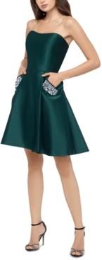Blondie Nites Juniors' Embellished-Pockets A-Line Dress