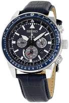 Seiko SSC631 Stainless Steel and Leather with Blue Dial 45mm Mens Watch