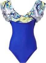 Emilio Pucci Electric Blue Ruffle One Piece Swimsuit