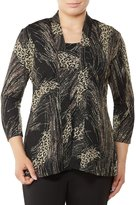 Allison Daley Open Front Print Pucker Knit Cardigan