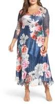 Komarov Plus Size Women's Floral Charmeuse & Chiffon Dress