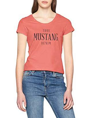 Mustang womens Logo Tee Special Plain Slim Fit Short Sleeve T - Shirt