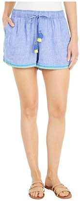 Vineyard Vines Linen Embroidered Pull-On Shorts (Marlin) Women's Shorts