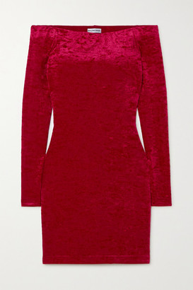 Balenciaga Off-the-shoulder Layered Stretch-crushed Velvet Mini Dress - Burgundy