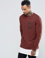 Asos Sweatshirt In Chestnut With Chest Print