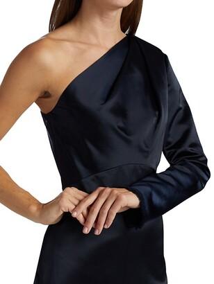 Lela Rose One-Shoulder Satin Gown