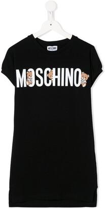 MOSCHINO BAMBINO bear logo print T-shirt dress