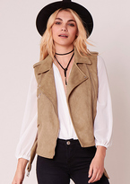 Missy Empire Naoko Camel Suede Sleeveless Jacket