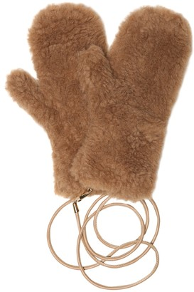 Max Mara Ombrato camel wool and silk mittens