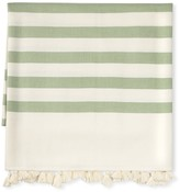 Williams-Sonoma Williams Sonoma Santa Barbara Stripe Pom Pom Throw, Peridot