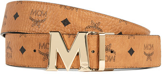 MCM Gold M Buckle Reversible Belt