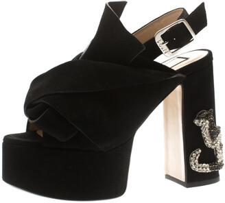 N°21 N21 Black Suede Embellished Knot Platform Block Heel Ankle Strap Sandals Size 36