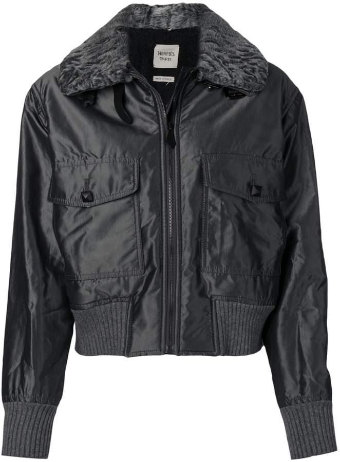 Hermes Pre-Owned 2000's metallic bomber jacket