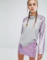 Jaded London Raglan Sweatshirt With Mermaid Sequin Sleeves Co-Ord
