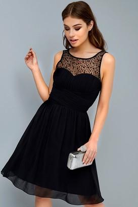 Little Mistress Grace Black Embellished Neck Midi Dress