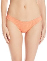 Vix Women's Solid Peach Basic Cheeky Bikini Bottom