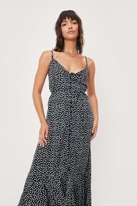 Nasty Gal Womens Spotty Print Button Down Maxi Slip Dress - Black - S
