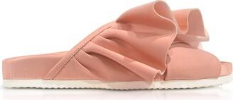 Joshua Sanders Pink Satin Ruffle Slide Sandals