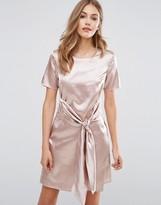 Boohoo Satin Tie Front Dress