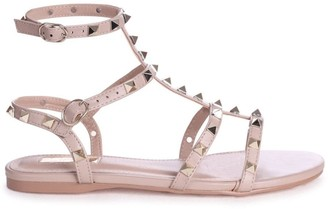 Linzi VIOLET - Taupe All Over Studded Gladiator Sandal