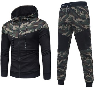 HOMEBABY Men Sports Camouflage Hooded Sweatshirt Pants Sets Tracksuit Casual T-Shirt Tops Gym Yoga Workout Running Pants 2 Piece Outfit Sport Wear Suit Sweatpants (Asia Size:XL