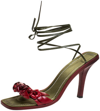Valentino Red/Green Leather Flower Applique Square Toe Ankle Tie Sandals Size 39.5