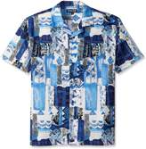Stacy Adams Men's Big-Tall Linen Blend Print Short Sleeve Shirt